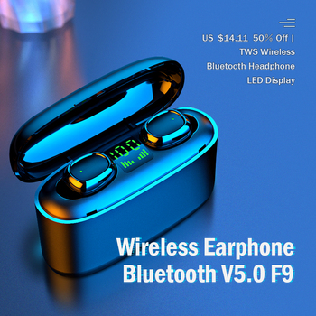KUGE Wireless Earphone Bluetooth V5.0 F9 TWS Wireless Bluetooth Headphone LED Display With 2000mAh Power Headset With Microphone 1