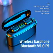KUGE bezprzewodowe słuchawki Bluetooth V5 0 F9 TWS bezprzewodowe słuchawki z Bluetooth wyświetlacz LED z 2000mAh Power zestaw słuchawkowy z mikrofonem tanie tanio Ucho NONE Inne CN (pochodzenie) Bezprzewodowy + Przewodowe Do Internetu Bar Monitor Słuchawkowe Do Gier Wideo Wspólna Słuchawkowe