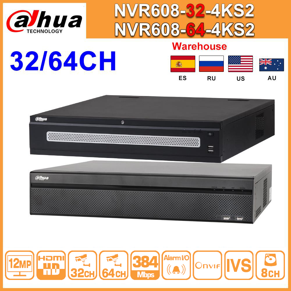 Grabadora Dahua 64CH NVR NVR608-64-4KS2 32CH NVR608-32-4KS2 H.265 Max 384Mbps Ultra 12,0 MP 4K de Resolución de red, Vídeo IP