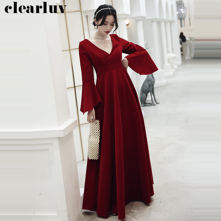 Sexy V-Neck Pregnant Women Party Dresses Plus Size Long Sleeves Evening Dresses Robe De Soiree Y016 2019 New Velour Formal Dress