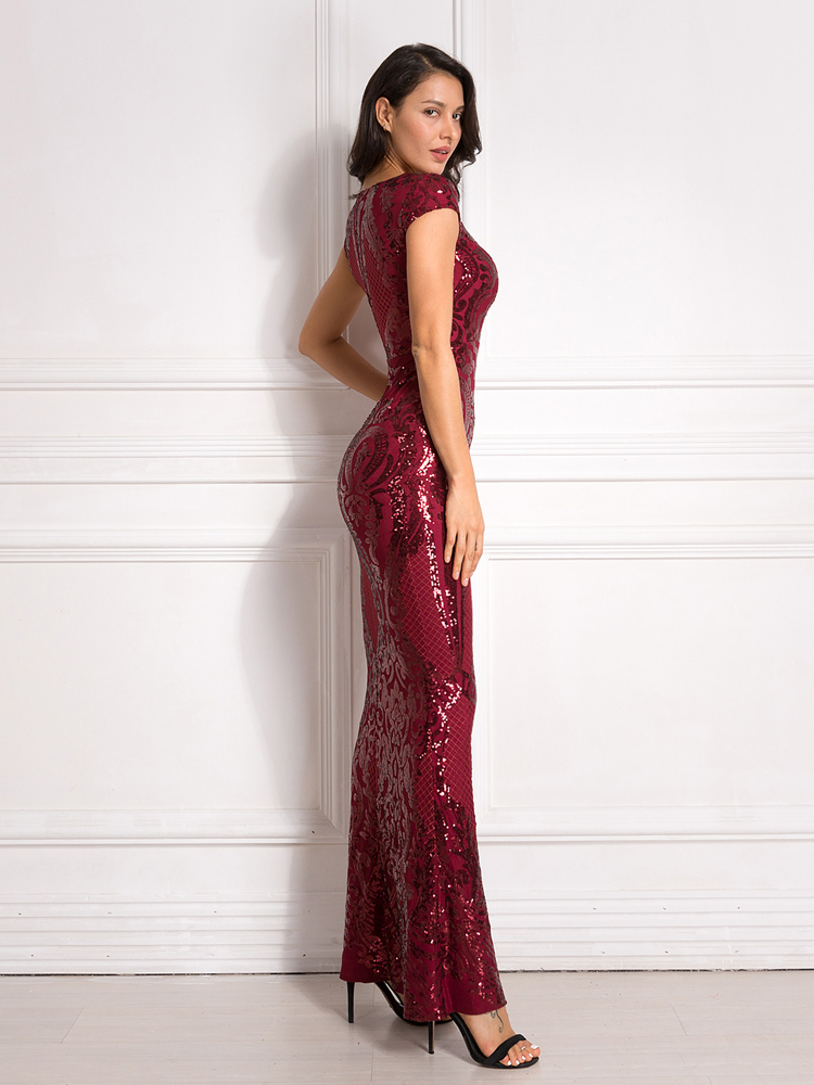 Burgundy Sequined Evening Party Dress Cap Sleeve Floor Length Stretchy Maxi Dress 2019 Autumn Winter 12
