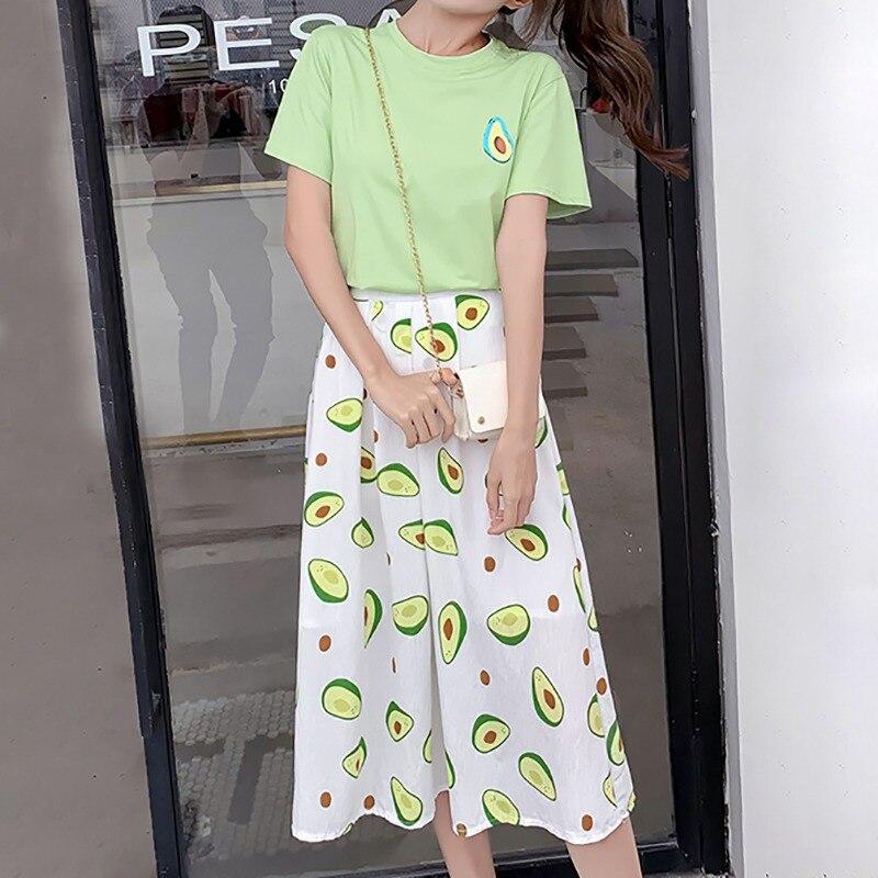 Women Sets Round Neck Short Sleeve Avocado Print T Shirt + High Waist Midi Skirt Two-Piece Set