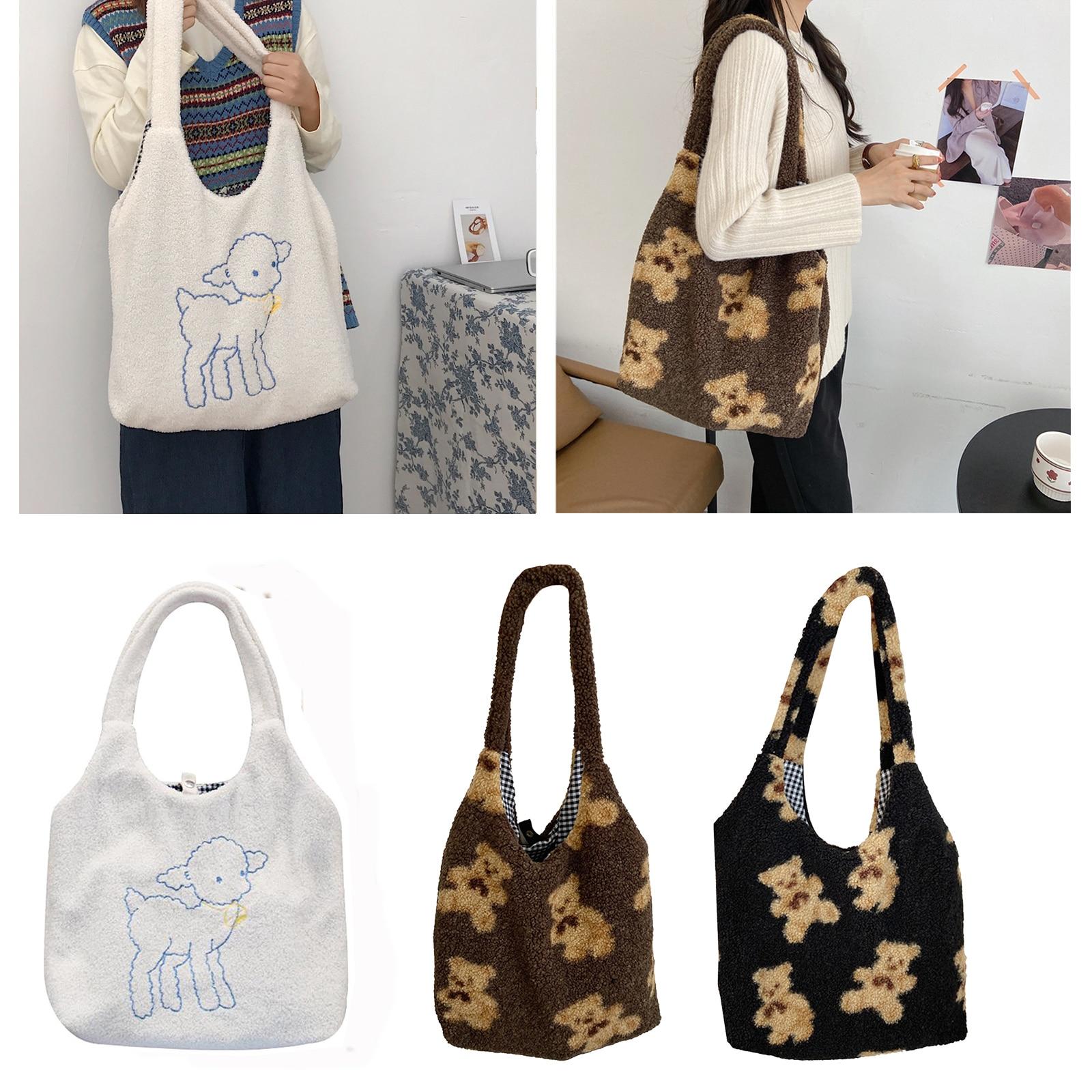 패브릭 숄더 토트 백 대용량 소프트 쇼핑 가방 여자 귀여운 학교 가방 여성 플러시 베어 핸드백