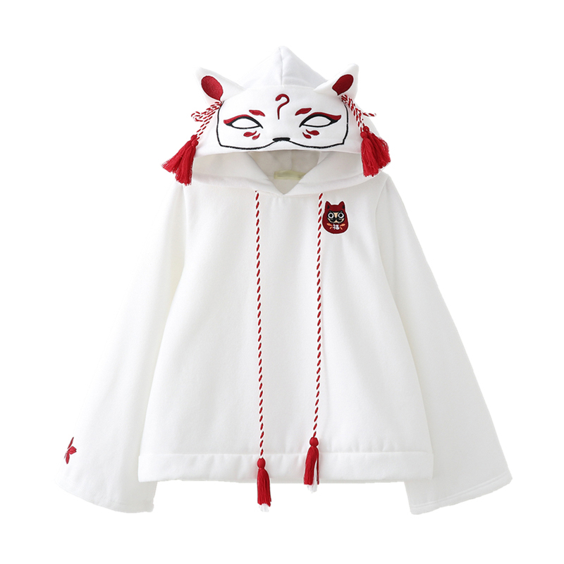 Japanese Retro 3D Fox Ear Embroidery Hoodie Cartoon Anime Girls Kawaii Hooded Pullover Hoodies Sweatshirt Harajuku Coat