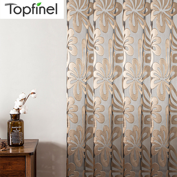 Topfinel Tulle Geometric Sheer Curtain Panels for Living Room Bedroom For The Kitchen Window Jacquard Curtains Decor. - discount item  46% OFF Home Textile