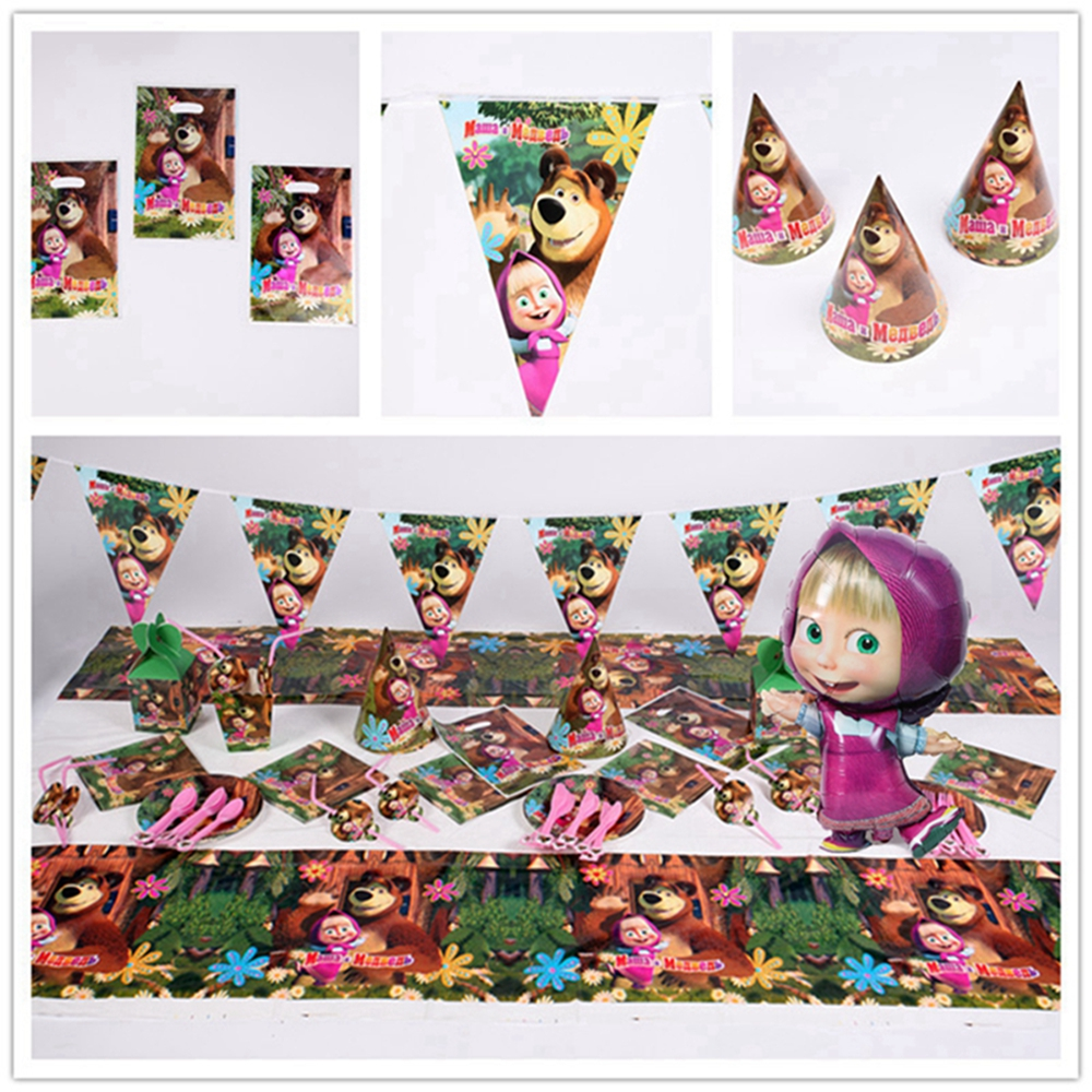 Masha And Bear Birthday Party Supplies Kids Decorations Disposable Tableware Paper Cup Straw Mask Dish Boy Baby Gift Items
