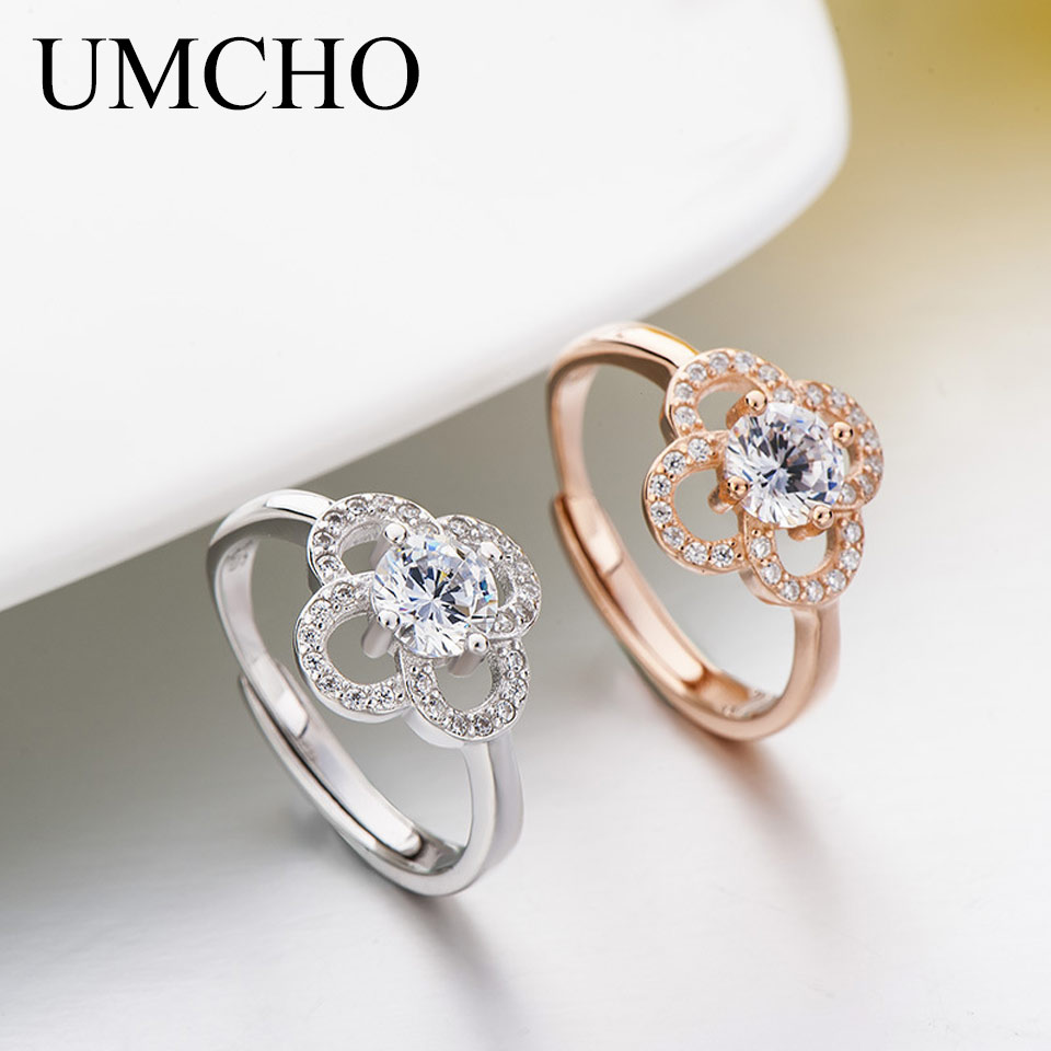 UMCHO Romantic Flower Real 925 Sterling Silver Rings Anniversary Wedding Gift Band Ring For Women Fine Jewelry