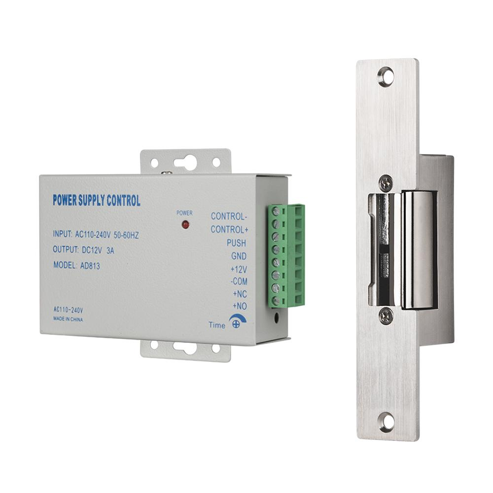 TMEZON Electric Strike Lock Narrow Type Electric Door Lock With Power Supply Control For Different Door NC Mode Fail Safe Access
