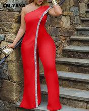 Cm. Yaya Heldere Bar Patchwork Een Schouder Losse Een Stuk Jumpsuit Vrouwen Mode Streetwear Volledige Lengte Jumpsuits Dames Outfit