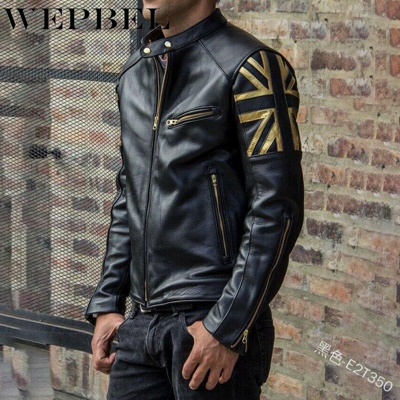 WEPBEL Men Pu Jacket Slim England Flag Zipper Pockets Slim Casual Fashion Winter Autumn Men's Coat Jackets
