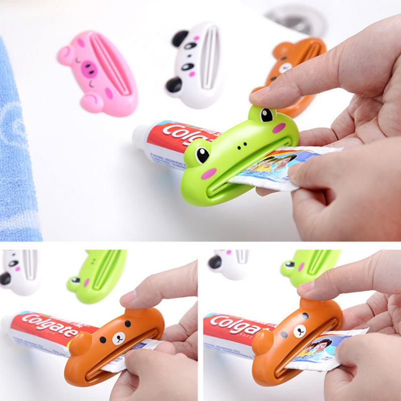 4pcs/set Bathroom Home Tube Squeezer Easy Cartoon Toothpaste Dispenser Rolling Holder Toothbrush Holder Bathroom Accessories