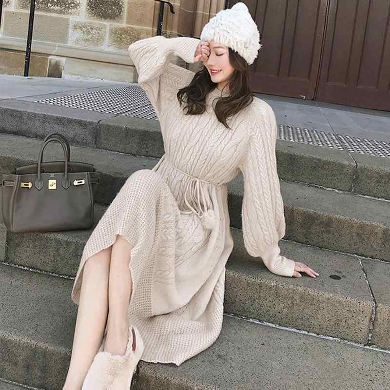 2019 осень-зима Фонари рукав длинные платья для женщин Женский вязаный теплый платье трапециевидной формы вязаный пуловер свитер Vestidos E13