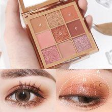Palette de fards à paupières 9 couleurs, ombre à paupières mate, à paillettes, maquillage, ensemble de cosmétiques coréens