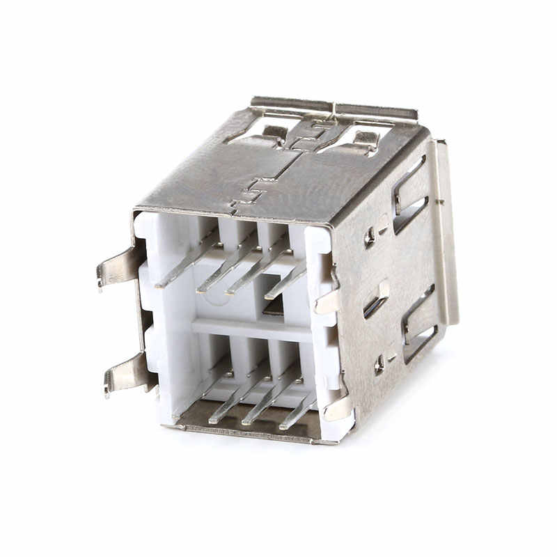 10Pcs Duplo USB Tipo A Fêmea Solda Conector Jacks Soquete PCB USB-A tipo 180 Graus Vertical 4 pinos