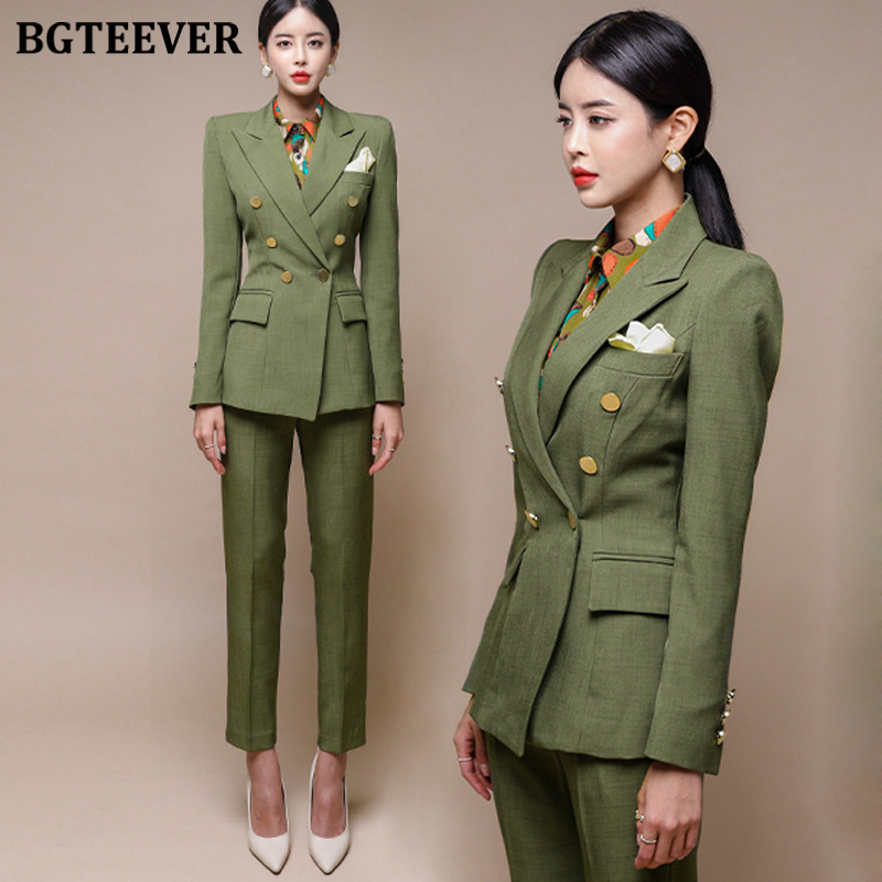 Fashion Green Women Blazer Set Double-breasted Slim Jacket & Pencil Pant Women Pant Suit Ladies Work Suit Female 2 Piece Set