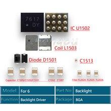 10 set/lote para o iphone 6 soluções de retroiluminação kit ic u1502 + bobina l1503 diodo d1501 capacitor c1531/c1552 c1597 + filtro fl2024