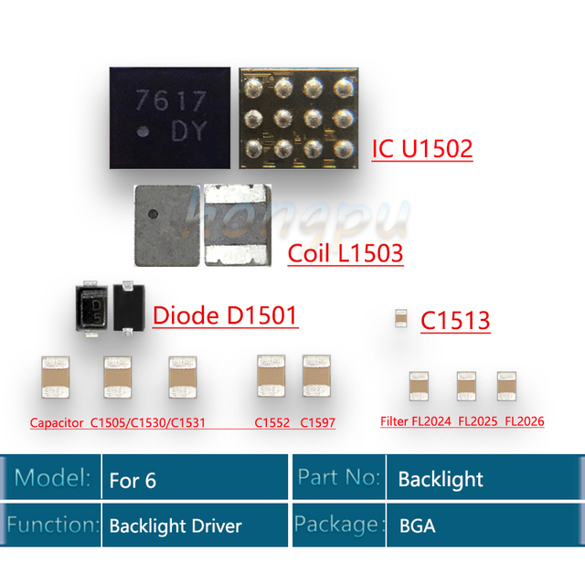 10Set/lot for iPhone 6 Backlight solutions Kit IC U1502 + Coil L1503 + Diode D1501 + Capacitor C1531/C1552 C1597 + Filter FL2024