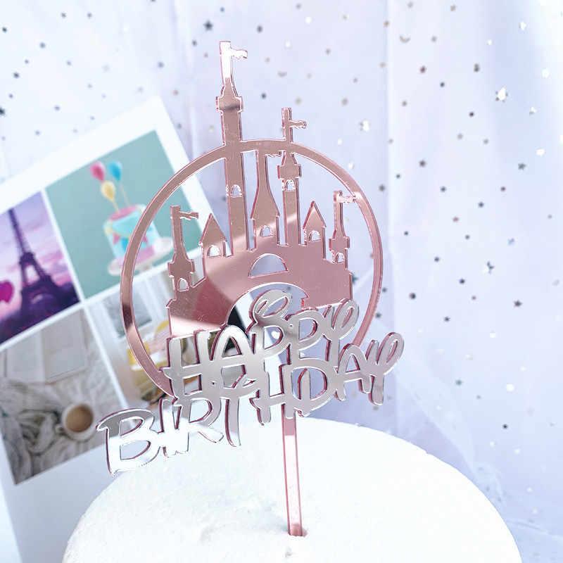 アクリル城ケーキトッパー手書きハッピーバースデーケーキデコレーショントッパーデザートカップケーキの誕生日の結婚式のパーティー用品
