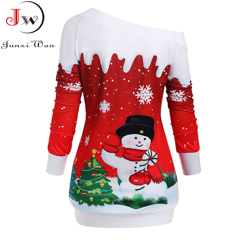 Christmas Hoodies Sweatshirts Women Autumn Winter Slash Neck Long Sleeve Snowman Print Pullovers Casual Warm Tops 2
