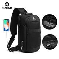 OZUKO 2019 New Men Anti thief Chest Bags Lock Design Multifunction Shoulder Crossbody Bags For Men Trip Waterproof Messenger Bag