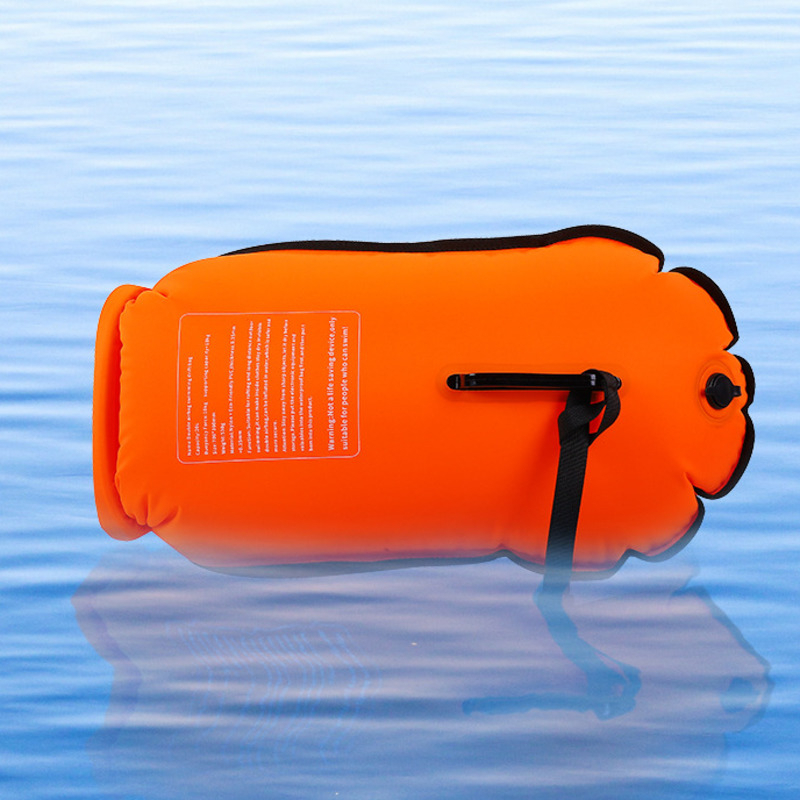 Dual-airbag Inflatable Swim Buoy Open Water Safety Lifeguard With Waistbelt Kayaking Storage Swimming Surf Life-saving Drift Bag