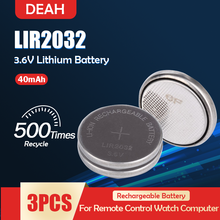 3 шт. LIR2032 LIR 2032 3,6 В перезаряжаемая литиевая батарея для часов пульт дистанционного управления, Кнопочная монета, замена CR2032 ML2032