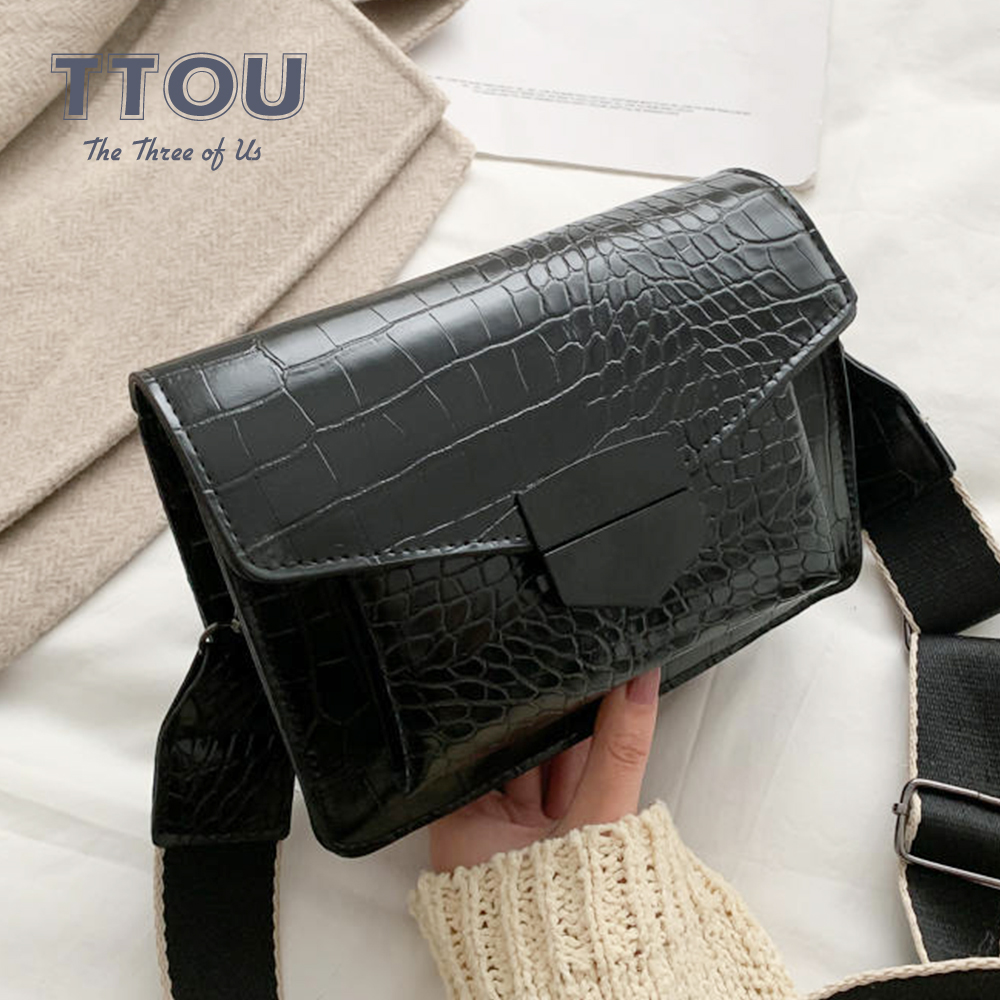 Casual PU Leather Crocodile Pattern Women Crossbody Bags Fashion Designer Female Shoulder Messenger Bag High Street Lady Handbag