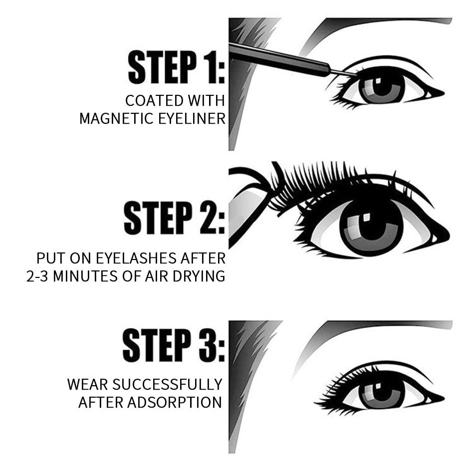 SexyGo Magnetic Eyelashes with eyeliner natural 3D Mink False Eyelashes Liquid Eyeliner & Tweezer Set & Waterproof Eyeliner 2
