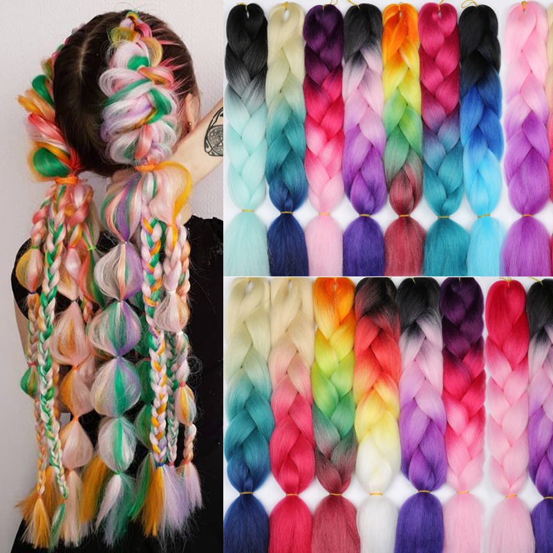 100g/24inch/Piece Pink Purple Blue Blonde Color Synthetic Jumbo Braids Ombre Braiding Hair Extension White Women Kanekalon