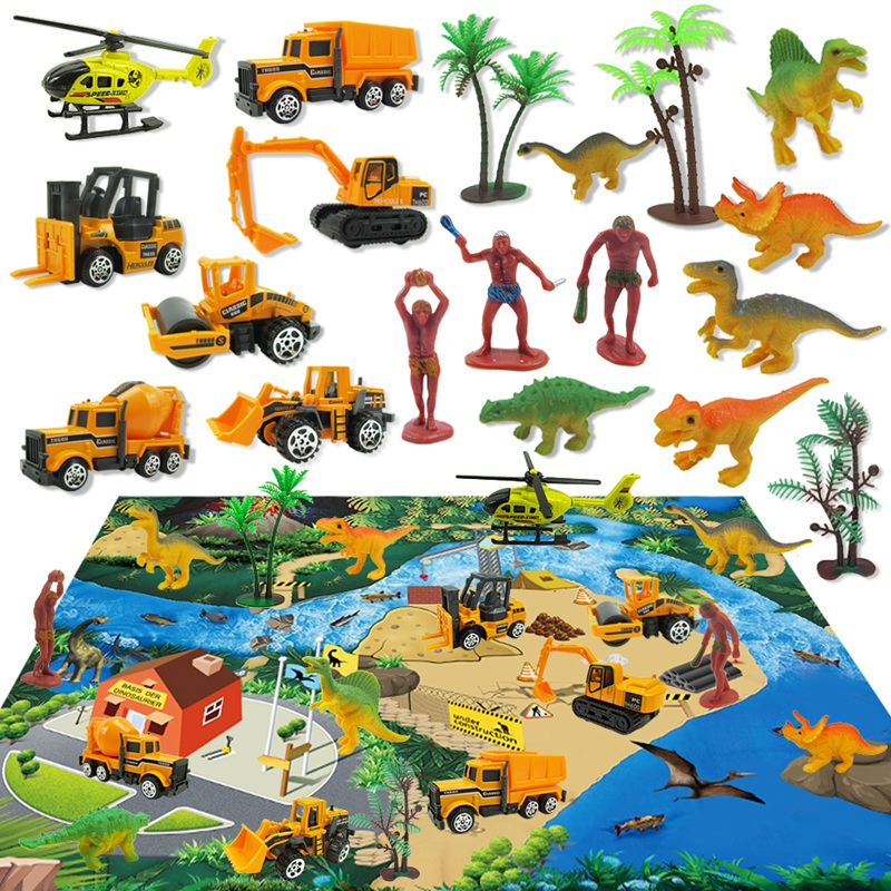 20PCS Alloy Engineering Car Helicopter Model With Minifigure Dinosaur Toy Children's Play Mat Carpet