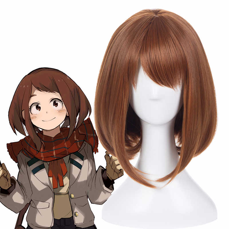 My Hero Academia Boku no Hiro Ochako Uraraka Cosplay Short Brown Wig With Wig Cap Adult Halloween Party Costume Accessories