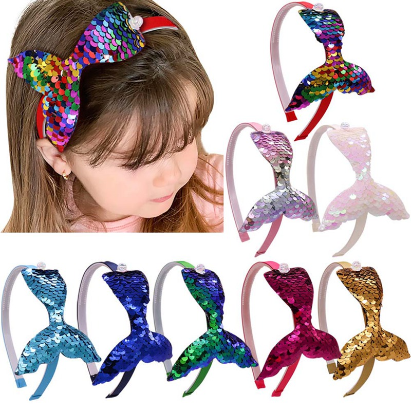 New Glitter Rainbow Mermaid Scales Hair Bow Headbands Hairband For Girls Kids