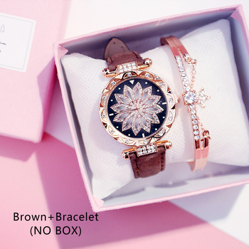 Casual Women Romantic Starry Sky Wrist Watch bracelet Leather Rhinestone Designer Ladies Clock Simple Dress Gfit Montre Femm - Brown And Bracelet