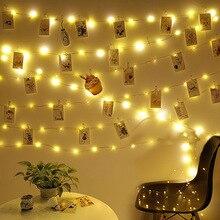 Guirlande de lumières exotiques pour lextérieur, clips pour photos, conte de fées, guirlande lumineuse à piles pour noël, 2M / 5M/10M, USB LED