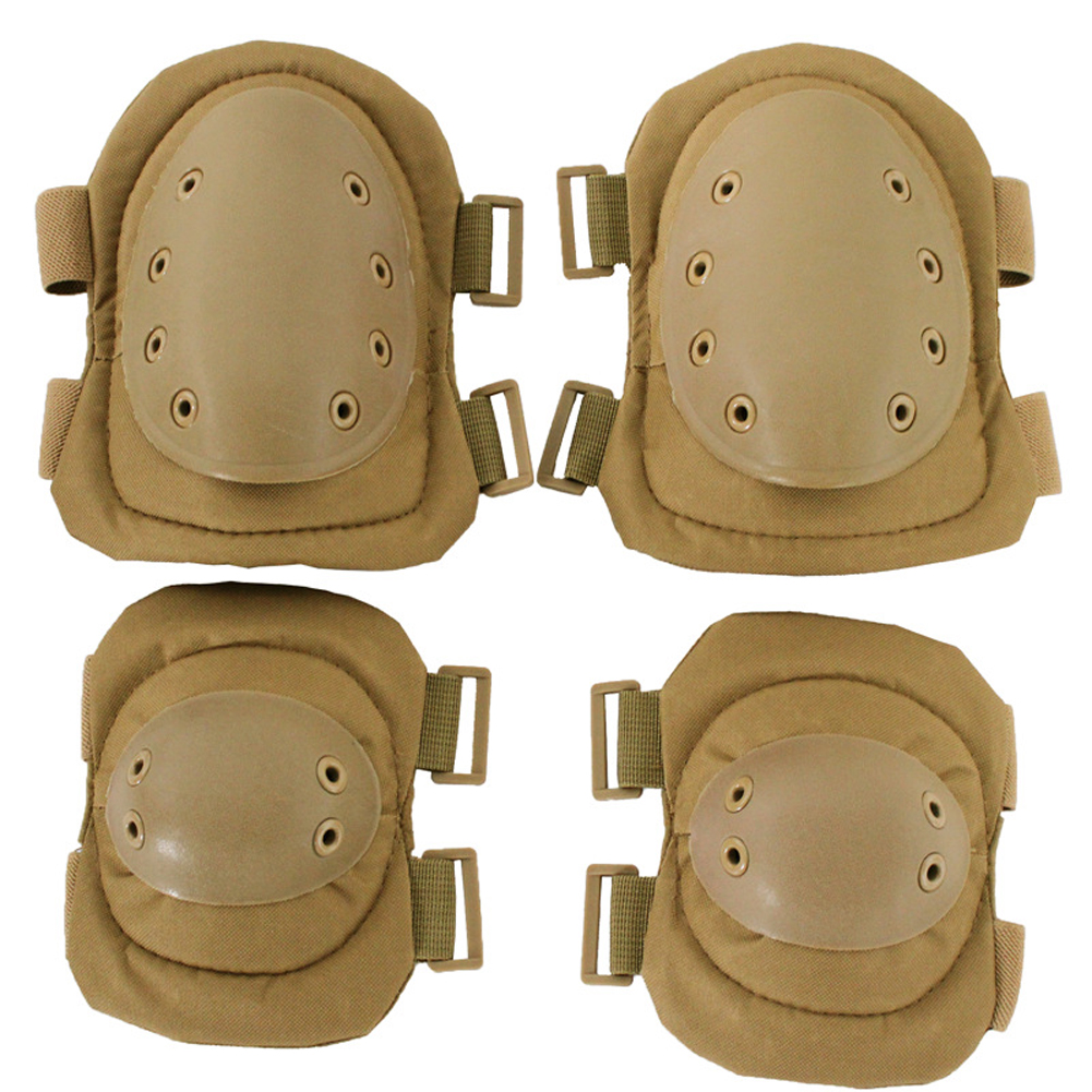 4pcs Hiking Knee Elbow Protector Gear Protective Pad Set Safety Guard Adjustable Straps Outdoor Sports Anti Collision Skating