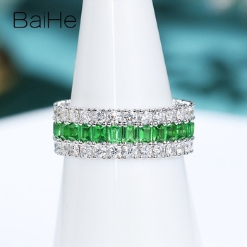 BAIHE Solid 14K White Gold 1.6ct Natural Tsavorite 1.8ct Natural Diamonds Fine Jewelry Wedding Ring beautiful Gift Couple Ring 2