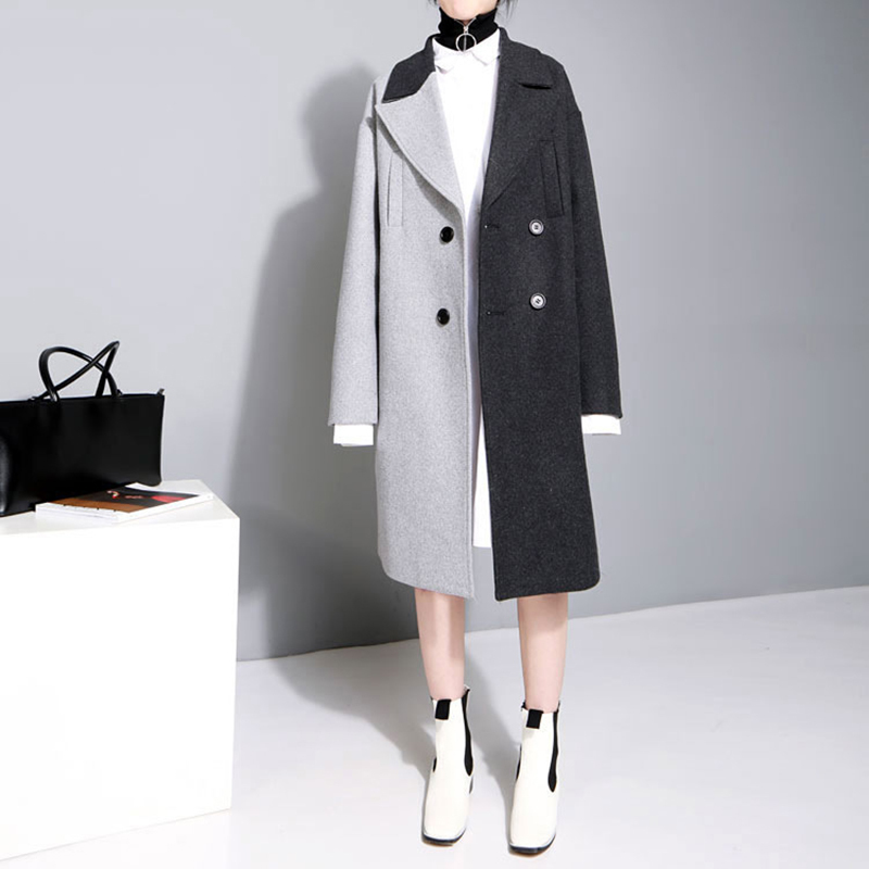 [EAM] 2020 New Spring Lapel Long Sleeve Solid Color Black Gray Split Joint Loose Big Size Jacket Women Fashion JC969 49