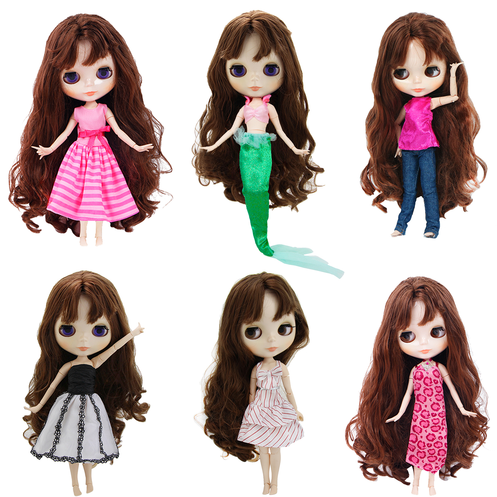 Random 1 Set Cute Daily Mini Dress Casual Outfits Skirt Clothes For Blythe Doll House Girl Toy