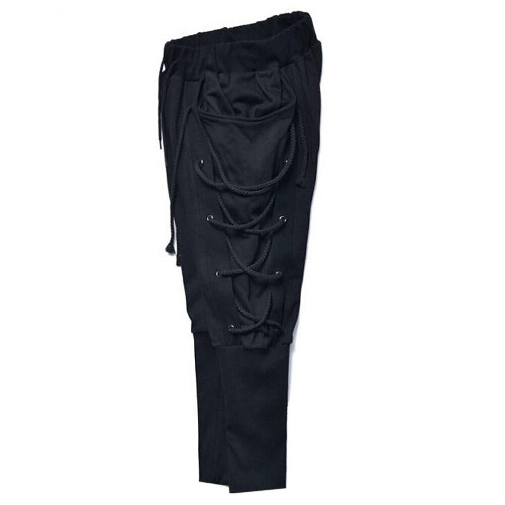 New Men Solid Color Baggy Pencil Pants Navigator Bandage Elatsic Waist Trousers