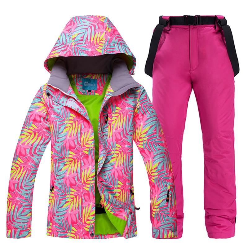 2019 New Ski Suit Women Thick Warm Waterproof Windproof Skiing And Snowboarding Jacket Pants Set Female Snow Costumes Ski Coat