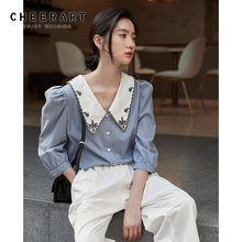 CHEERART Vintage Puff Sleeve Embroidery Blouse Women Summer White Blue Korean Blouse Button Up Ladies Top