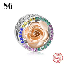 Fit pandora Charm Bracelets Original rose Beads 925 Sterling Silver Charms with crystal CZ diy jewelry for Valentine's Day gift недорого