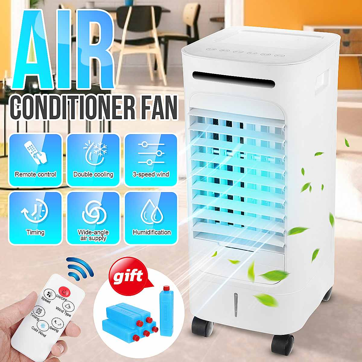 75W Home Mobile Air Conditioning Fan Portable 2.5L Tank Humidifier Cooler 3 Fan Modes Sleep Timer 220V Bedroom Living Room Offic