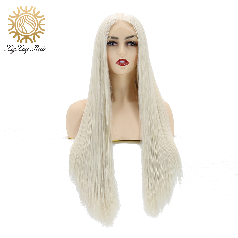 ZigZag Platinum Blonde Wig Straight Long Synthetic Lace Front Wigs For Women Heat Resistant Fiber Hair Middle Part Cosplay Wigs