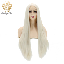 ZigZag Platinum Blonde Wig Straight Long Synthetic Lace Front Wigs for Women Heat Resistant Fiber Hair Middle Part Cosplay Wigs natural lace front wigs for black women synthetic hair middle part wig pink straight hair style