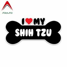Aliauto Creative Car Sticker I Heart My Shih Tzu Dog Bone Sunscreen Waterproof Reflective Decoration Decal PVC,15cm*7cm(China)