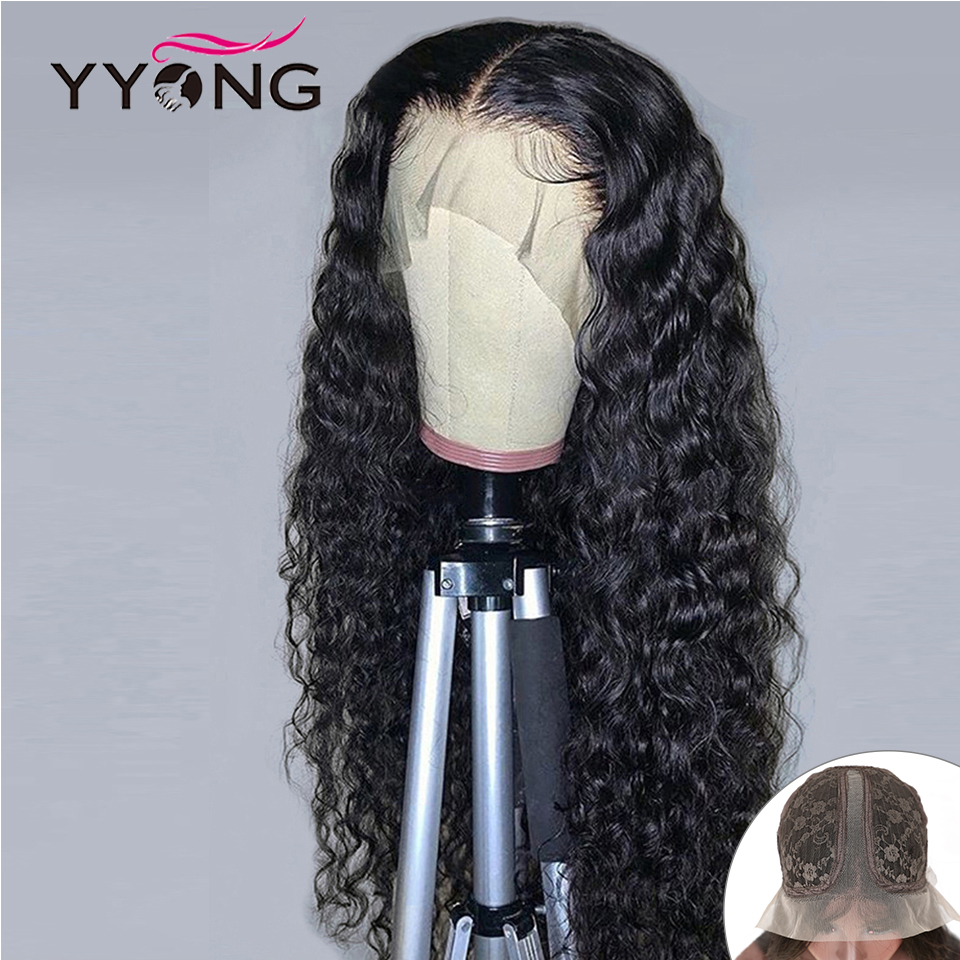 YYONG 13x1 Hairline Lace Part HD Transparent  Wig   Water Wave  T Part Lace Wigs With Baby Hair 1