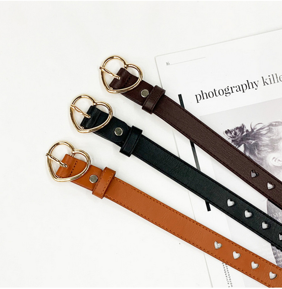 Women's Belt Women's Belt Buckle Fashion Lady Retro Heart Buckle Casual Belt Pants Accessories