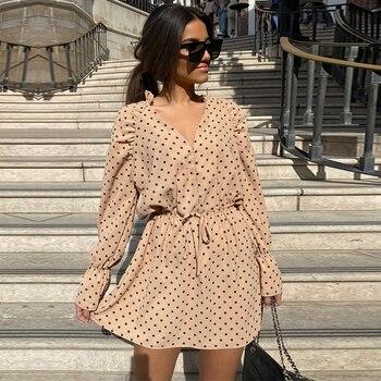 Women new fashion polka dot chiffon mini dress sexy V-neck long sleeve stitching waist lace dress
