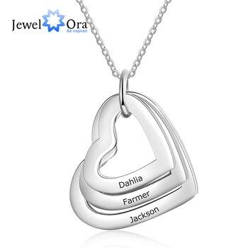 Colar de família personalizado com 3 nomes de aço inoxidável triplo coração gravado colar para mãe (jewelora ne103289)